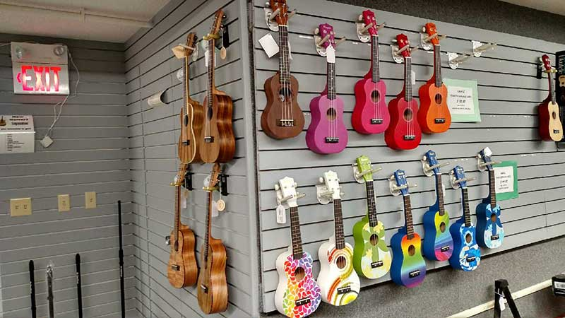 Guitars on wall