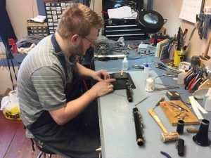 Clarinet being repaired