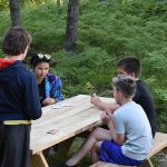 Campers sitting at picnic table